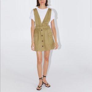khaki pinafore dress with pockets